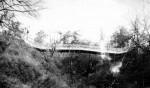 Подвесной мостик в городском парке. Фото 1954 г.
