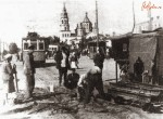 Ремонт трамвайной колеи на площади Розы Люксембург